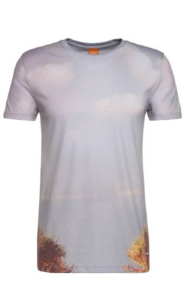 Camiseta estampada relaxed fit en mezcla de materiales con algodón: 'Trophy', Blanco