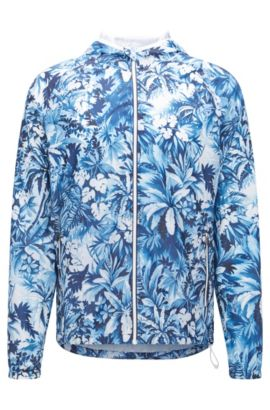Regular-fit technical beach jacket, Open Blue