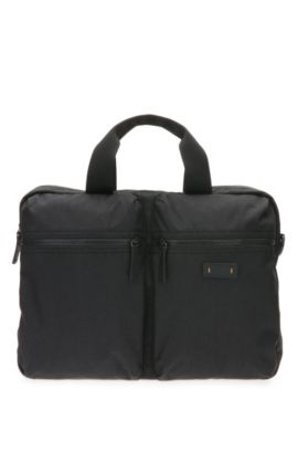 Business bag in textured material blend: 'Saturn R_S doc', Black