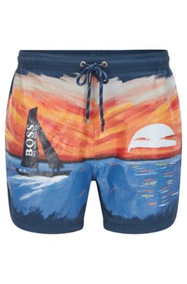 Hand-painted swim shorts in fabric blend: 'Sand Shark', Open Blue