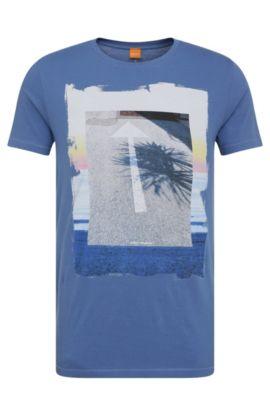 T-shirt imprimé Regular Fit en coton: «Tintype 2», Bleu vif