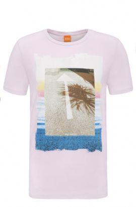 Regular-fit print t-shirt in cotton: 'Tintype 2', light pink