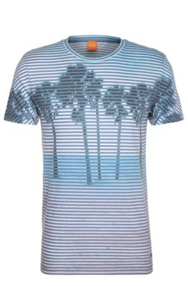 Print t-shirt in material blend with cotton: 'Telling', Open Blue