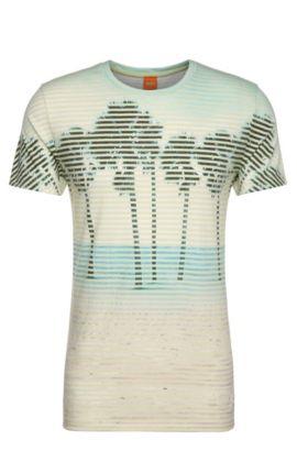 T-shirt met print, van een materiaalmix met katoen: 'Telling', Lichtgeel