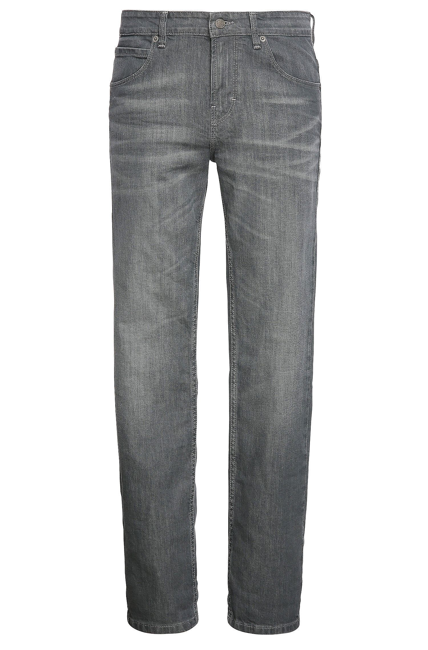 Slim-fit jeans in stretch cotton with wash: 'Orange63'