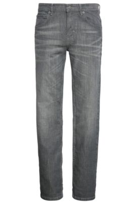 Slim-fit jeans in stretch cotton with wash: 'Orange63', Dark Grey