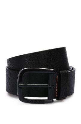Cinturón de piel con textura y pespuntes en contraste: 'Jem_Sz40_ltem', Negro