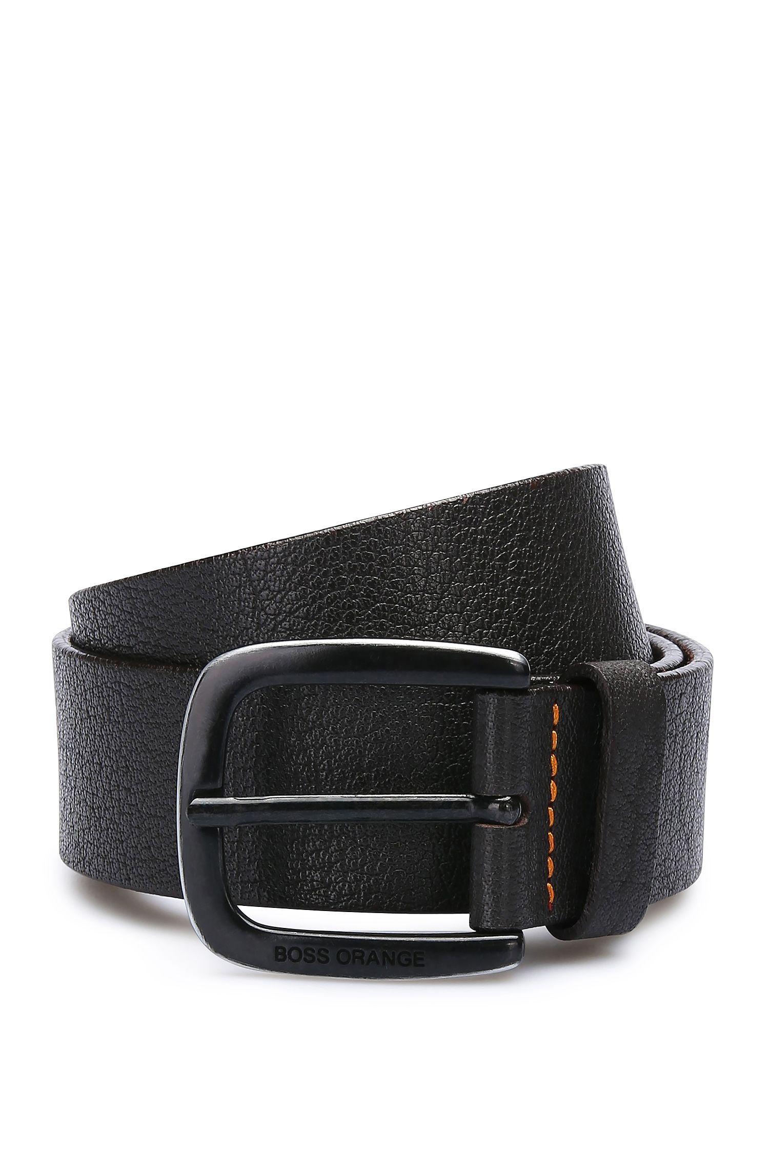 Textured leather belt with contrast stitching: 'Jem_Sz40_ltem'