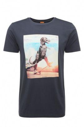 T-shirt imprimé Regular Fit en coton: «Tintype 4», Bleu foncé