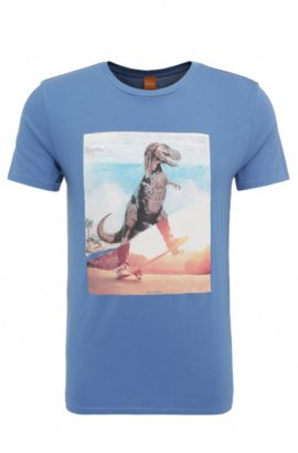 Regular-fit print t-shirt in cotton: 'Tintype 4', Open Blue