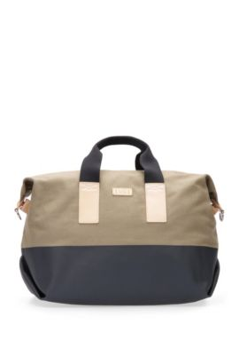 Holdall in textured cotton: 'Lightime_Holdall', Beige