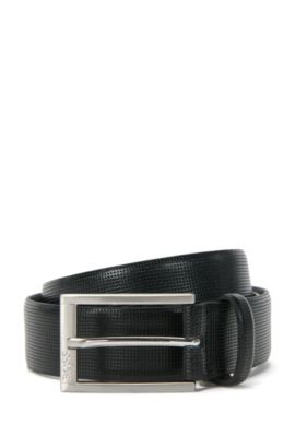 Leather belt with finely perforated pattern: 'Cornelio_Sz32_Item', Black