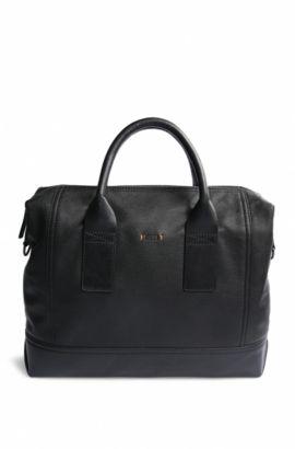 Work Bag aus genarbtem Leder: ´Streetline_S doc`, Schwarz