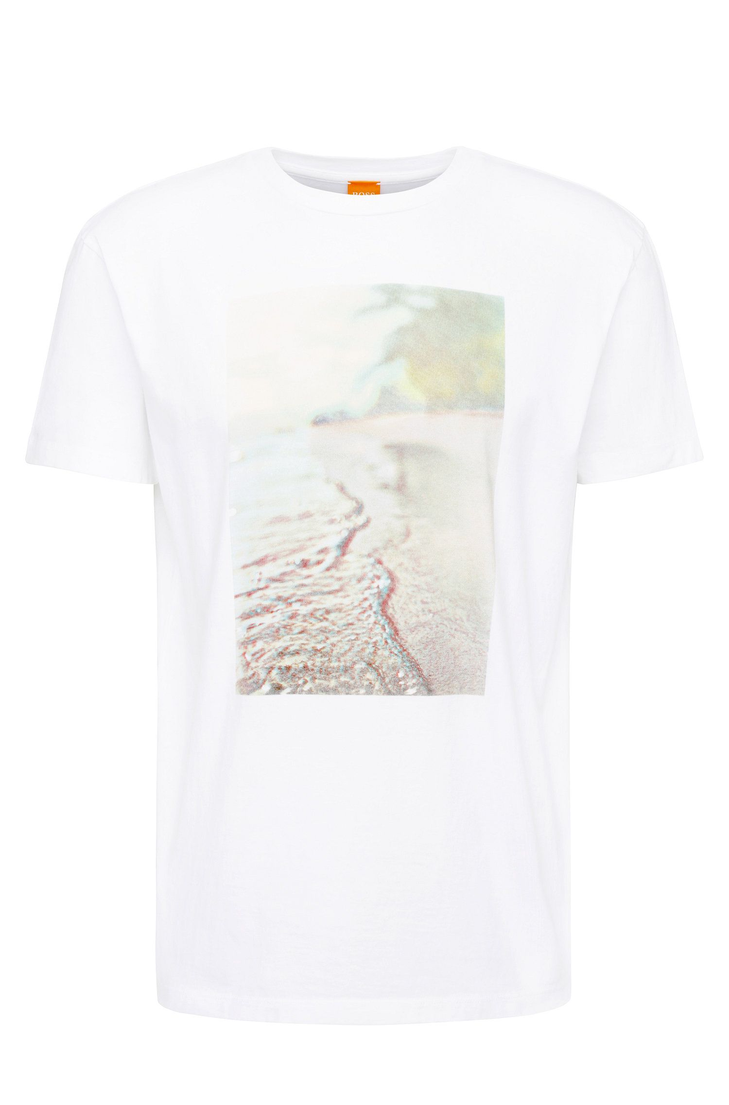 Regular-fit cotton t-shirt with beach print: 'Trying 3'