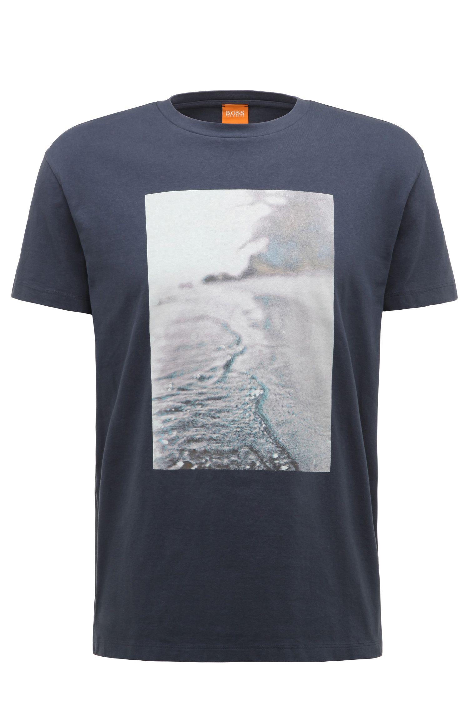 Regular-fit T-shirt van katoen met strandprint: 'Trying 3'