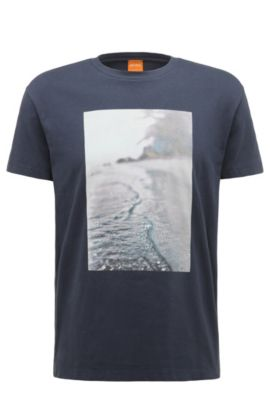 Regular-fit cotton t-shirt with beach print: 'Trying 3', Dark Blue