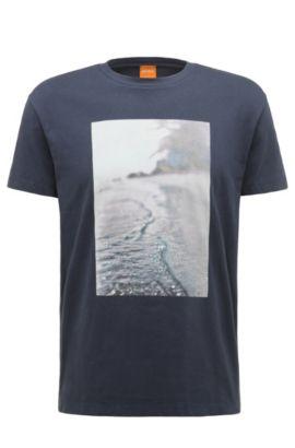 Regular-fit T-shirt van katoen met strandprint: 'Trying 3', Donkerblauw