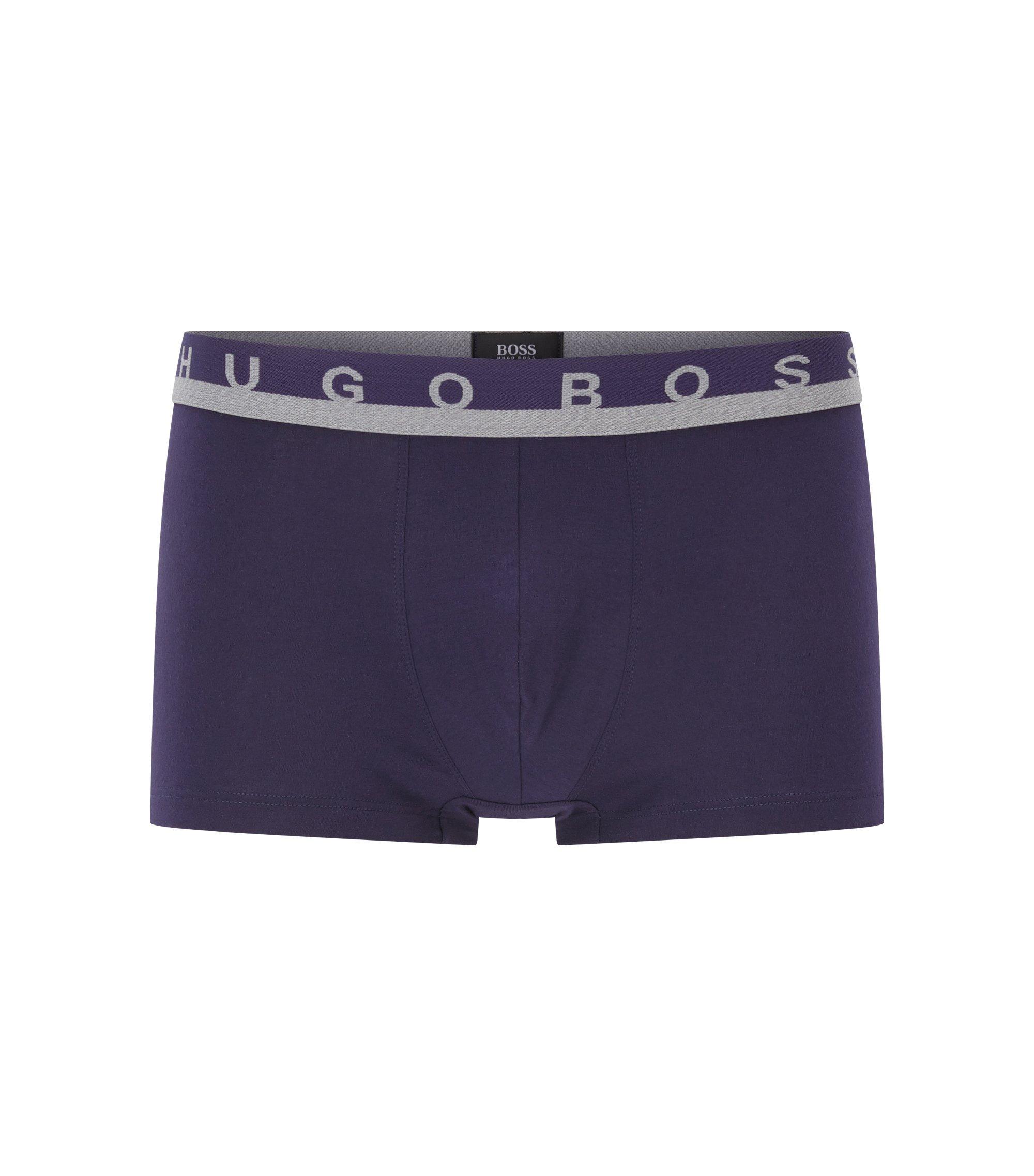 Boxer court en jersey de coton stretch à ceinture logo, Violet foncé