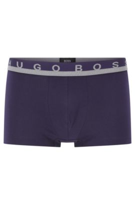 Logo-waistband trunks in stretch-cotton jersey, Dark Purple