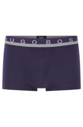 Boxer corti in jersey di cotone elasticizzato con logo in vita, Viola scuro
