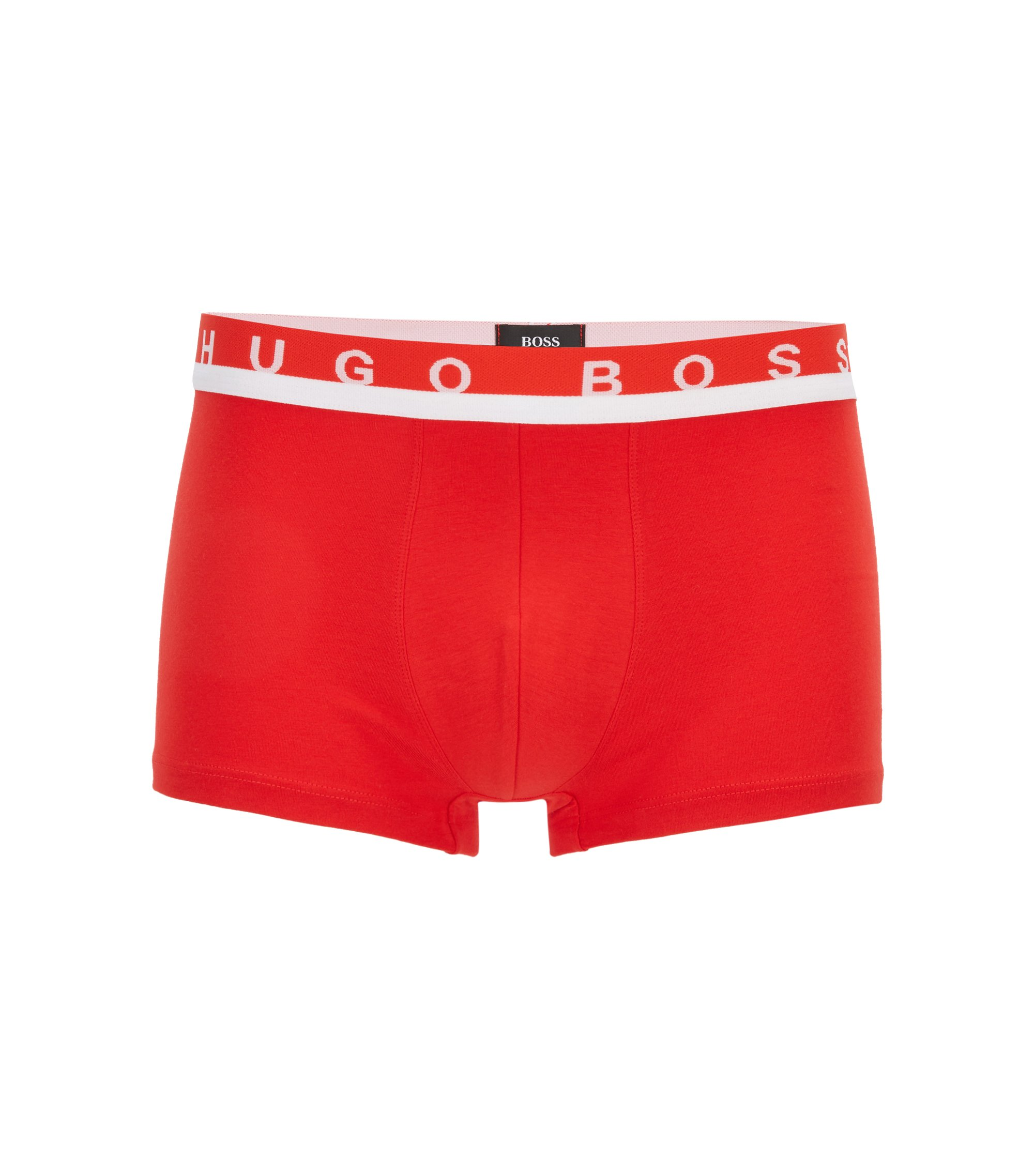 Calzoncillos bóxer cortos en punto de algodón elástico con logo en la cintura, Rojo