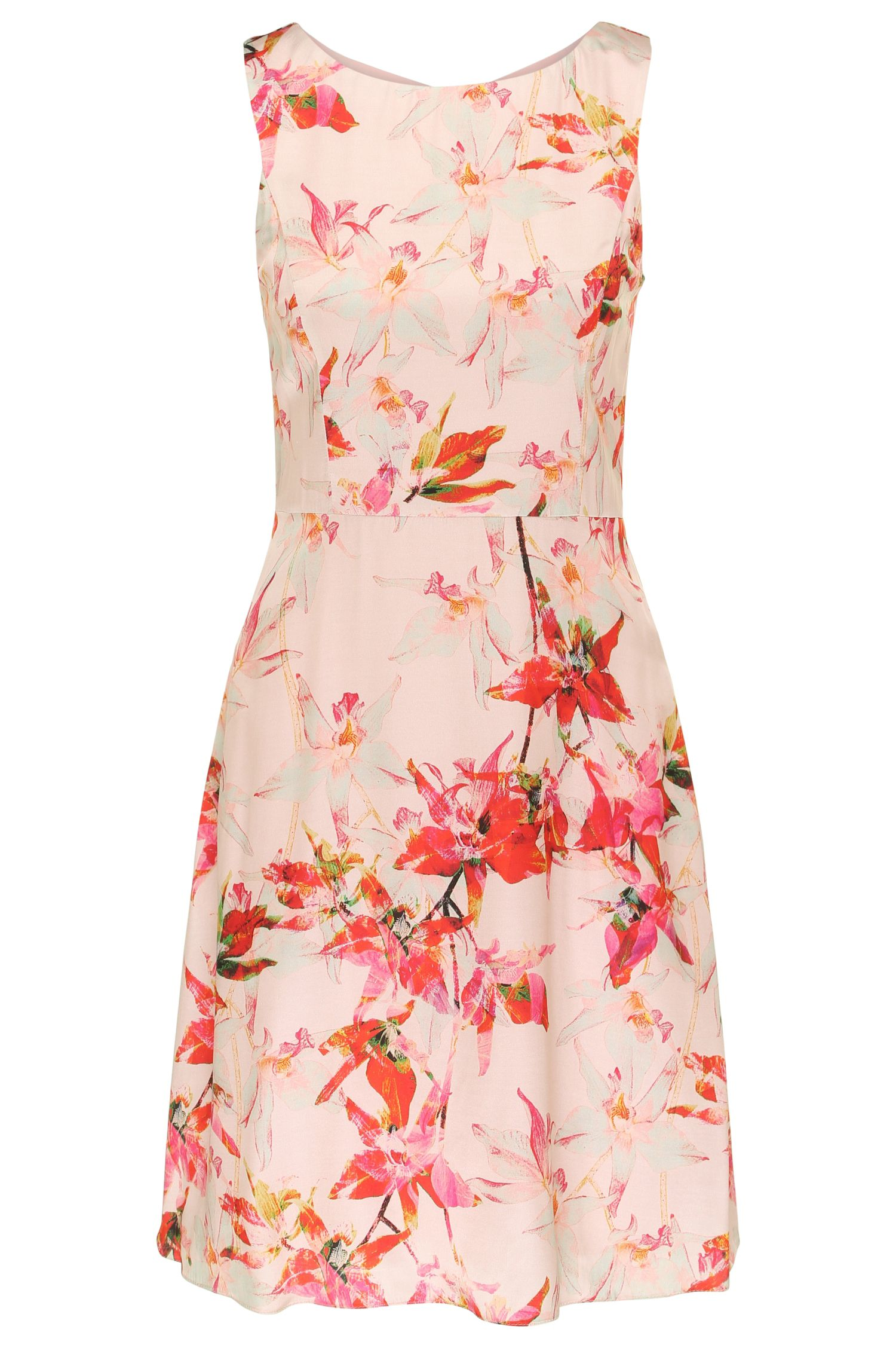Vestido mini regular fit con flores impresas en viscosa con seda: 'Afilly'