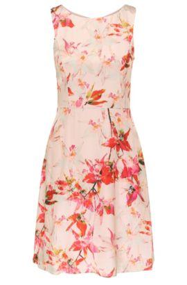 Vestido mini regular fit con flores impresas en viscosa con seda: 'Afilly', Fantasía