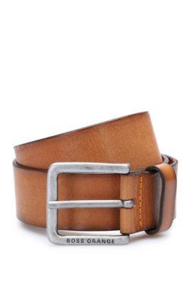Cinturón de piel con textura a rayas: 'Jeekyo_Sz40_ltem', Marrón