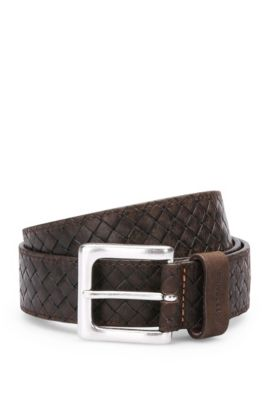 Leather belt in vintage braided effect: 'Jemmino_Sz35_wnem', Dark Brown