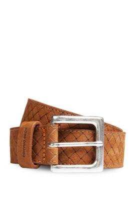 Leather belt in vintage braided effect: 'Jemmino_Sz35_wnem', Brown