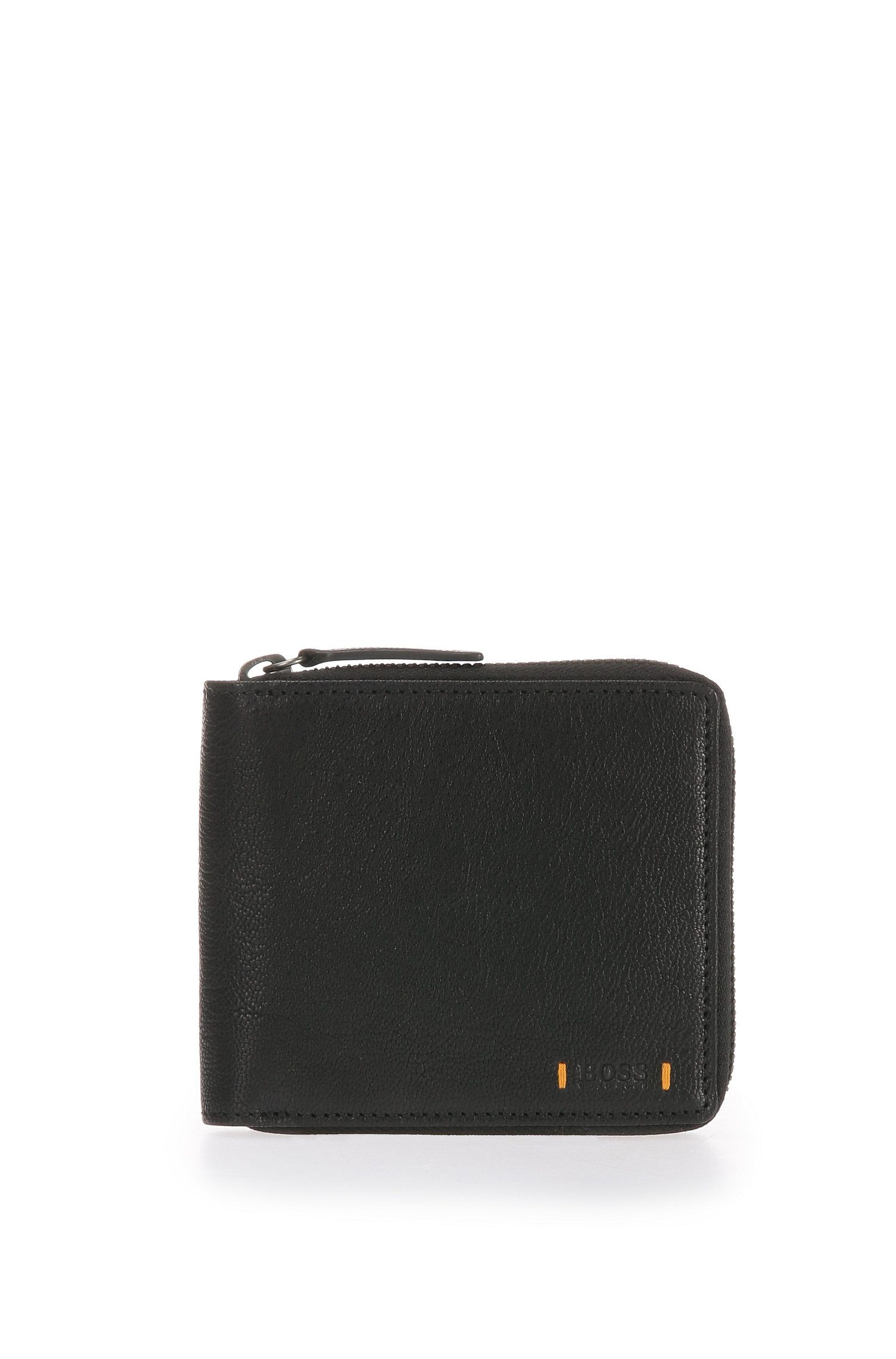 Wallet in grained leather with zip: 'Streetline_Z around'