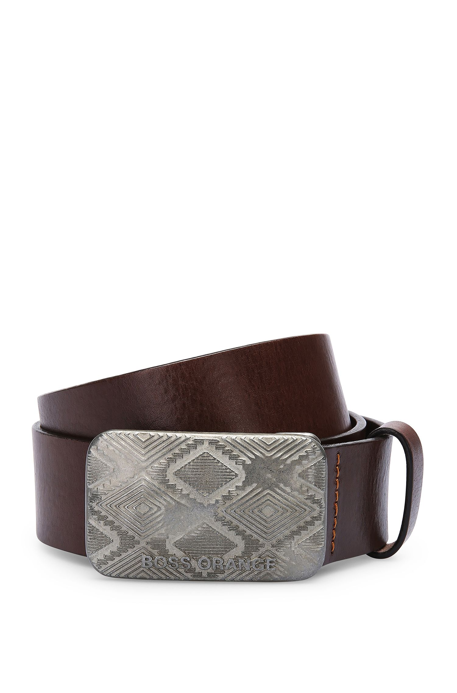 Leather belt with ethnic engraving and clamping buckle: 'Jeremy_Sz40_ltem'