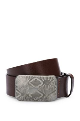 Leather belt with ethnic engraving and clamping buckle: 'Jeremy_Sz40_ltem', Dark Brown