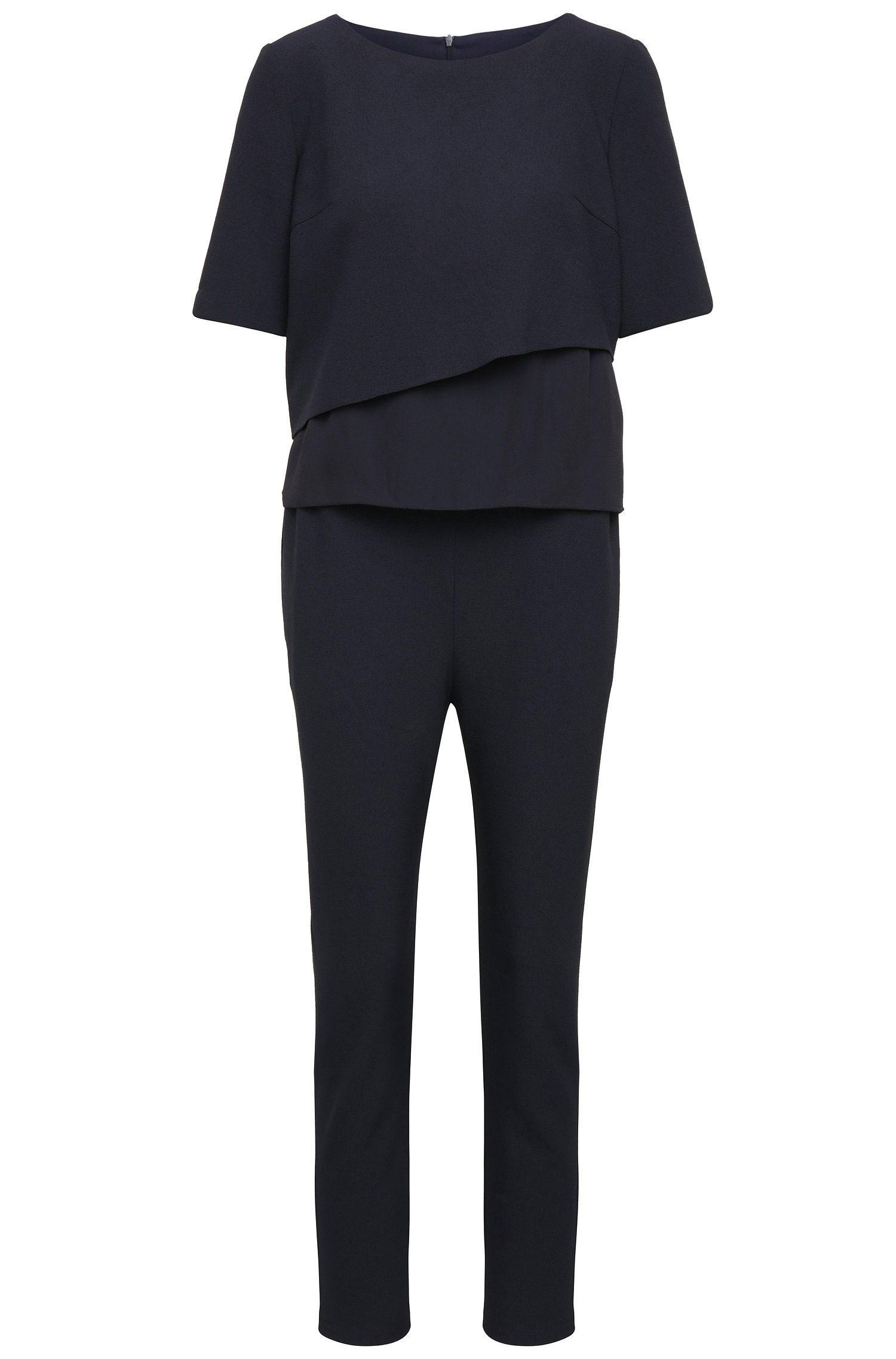 Regular-fit jumpsuit van een elastische materiaalmix met gelaagde top: 'Alayer'