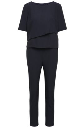 Regular-Fit Jumpsuit aus elastischem Material-Mix mit Layering-Top: ´Alayer`, Dunkelblau