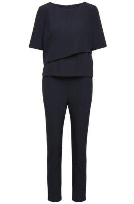 Regular-fit jumpsuit van een elastische materiaalmix met gelaagde top: 'Alayer', Donkerblauw