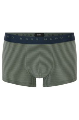 Striped boxer shorts in stretch cotton: 'Trunk Finestripe', Open Green