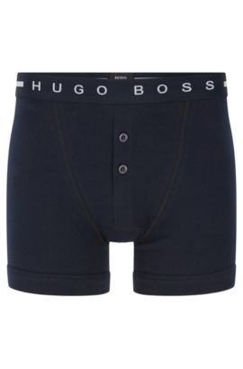 Plain cotton boxer shorts with buttoned fly: 'Trunk BF Original', Dark Blue