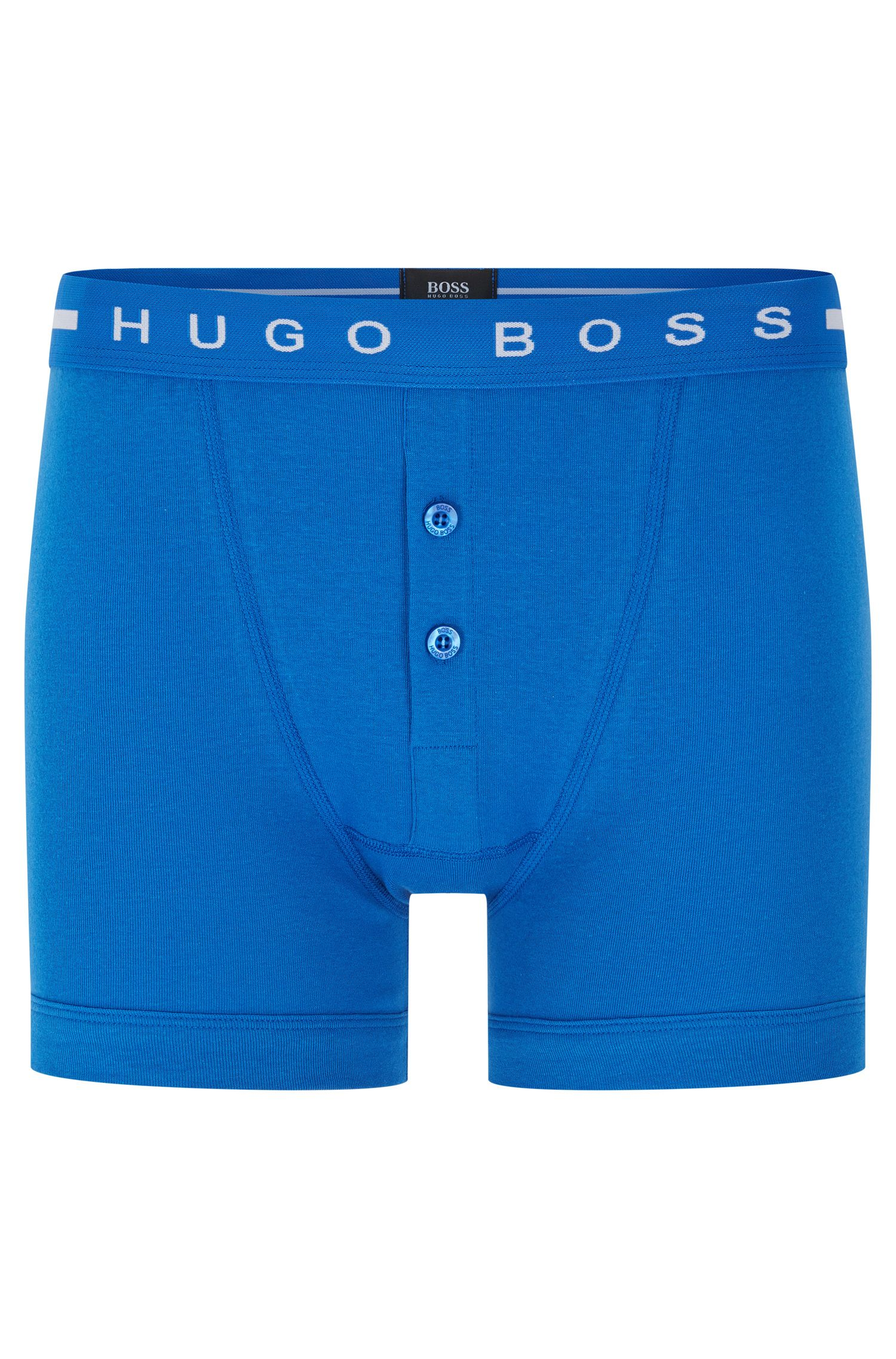 Plain cotton boxer shorts with buttoned fly: 'Trunk BF Original'
