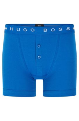 Plain cotton boxer shorts with buttoned fly: 'Trunk BF Original', Blue
