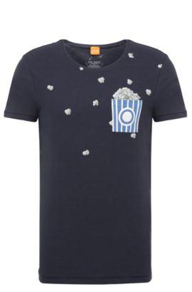 Regular-fit T-shirt van katoen met print: 'Toolbox 2', Donkerblauw