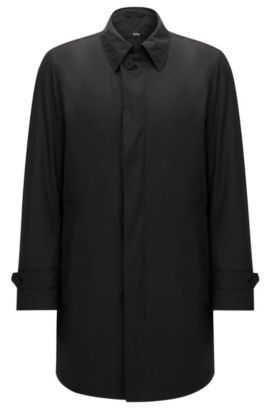 Manteau Regular Fit imperméable à patte de boutonnage invisible : « Garret2 », Noir