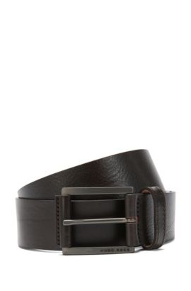 Leather belt with a fine texture: 'Sian_Sz40_Itpl', Dark Brown