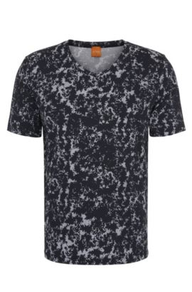 Relaxed-fit T-shirt van katoen met all-over-print: 'Topmost', Wit