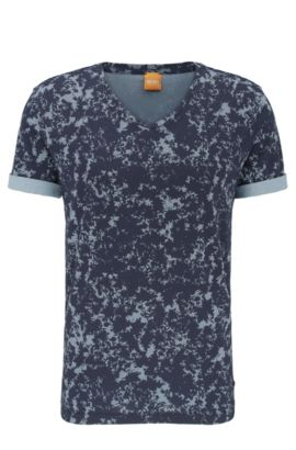 T-shirt relaxed fit in cotone con stampa all-over: 'Topmost', Celeste