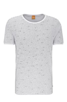Relaxed-Fit T-Shirt aus Baumwolle mit Allover-Print: ´Text`, Weiß