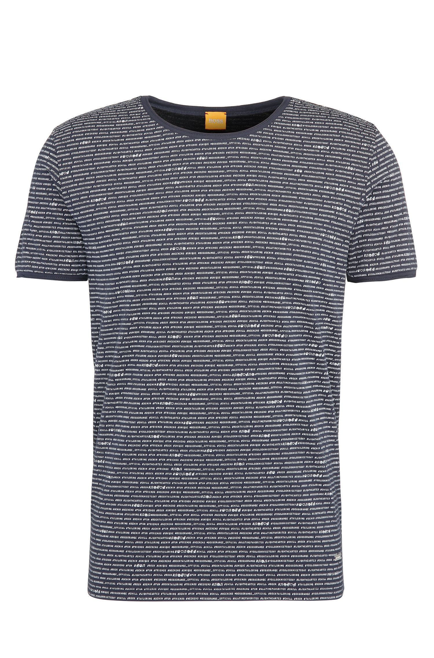 Relaxed-fit T-shirt van katoen met all-over-print: 'Text'