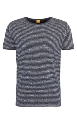 Relaxed-fit T-shirt van katoen met all-over-print: 'Text', Donkerblauw