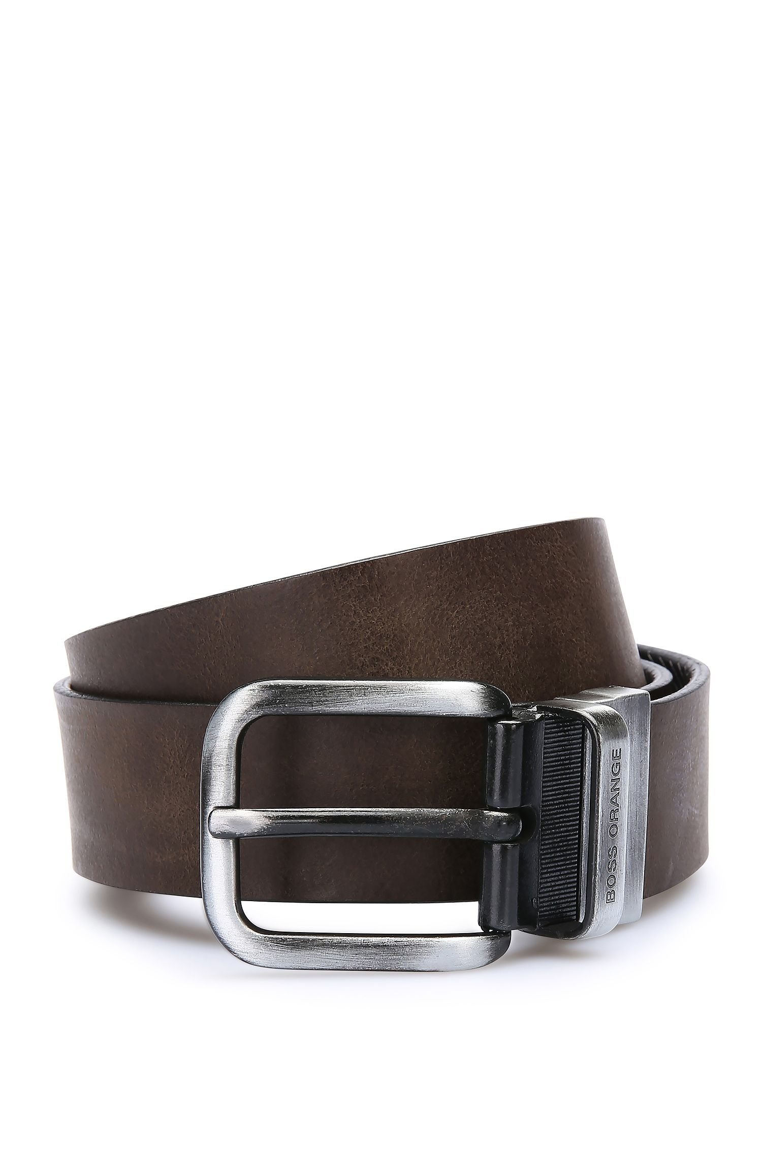 Leather belt in reversible design: 'Julle_Or35_ps'
