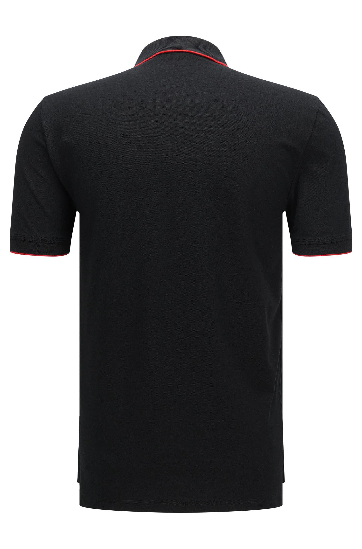 Slim-Fit Poloshirt aus Stretch-Baumwolle mit Kontrast-Streifen: 'Delorian', Schwarz